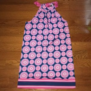 Midpie Halter Dress Navy and Pink Medallion